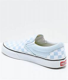Light Blue And Checkered Vans Vans Slip On Baby Blue Amp White Checkered Skate Shoes Zumiez