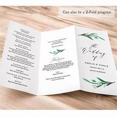 Tri Fold Wedding Programs Z Fold Or Trifold Wedding Program Printable Template Order