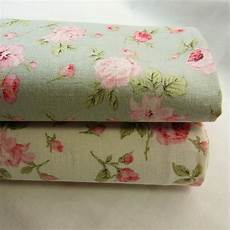 linen cotton blend fabric floral shabby chic mint green