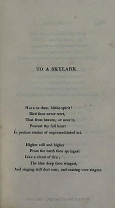 Percy Bysshe Shelley Completed The Poem Quot To A Skylark Quot In