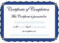 Certification Of Completion Template Printable Certificates Of Completion Sampleprintable Com
