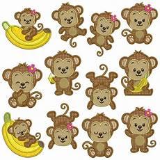 Monkey Design Monkeys 1 Machine Applique Embroidery Patterns 12