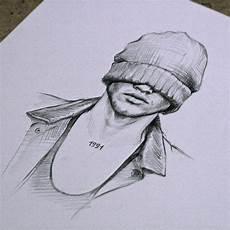 desenho criativos coolrista рисунок карандаш мужчина в шапке drawing