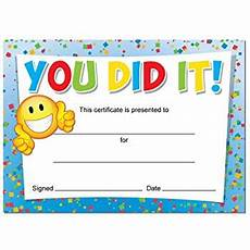 Child Award Certificate You Did It Award Certificates 16 X A6 Card Awards