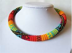 bright colors bead necklace bead crochet necklace summer