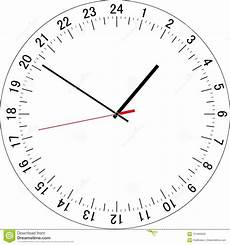 24 Hour Clock Time 24 Hours Clock Dial Vector Illustration Stock Vector