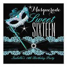 Masquerade Invitations For Sweet 16 Masquerade Sweet Sixteen Sweet 16 Teal Blue Card Zazzle