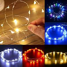 String Lights Fairy Lights 20 50 100 Led String Battery Operated Copper Silver Wire