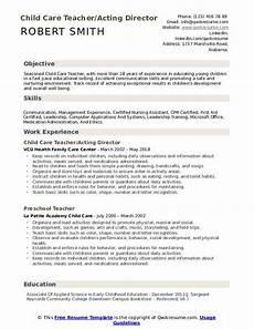 Resume For Child Care Director Child Care Teacher Resume Samples Qwikresume