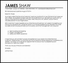 Cover Letter Example For Supervisor Position Maintenance Supervisor Cover Letter Sample Cover Letter