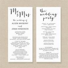 Program Template For Wedding Wedding Program Template Editable Wedding Program Rustic