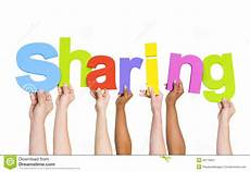 Share Photos Multi Ethnic Hands Holding The Word Sharing Stock Image