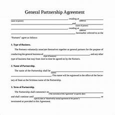 Simple Partnership Agreement Free 11 Sample General Partnership Agreement Templates In