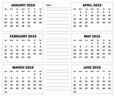 6 Month Calendar On One Page 2019 6 Months Half Year Calendar Printable Download With
