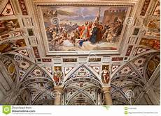 italian renaissance fresco on the arched ceiling stock