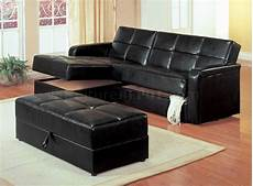black vinyl modern small sectional sofa w storage and ottoman