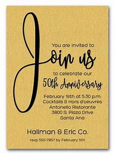 Business Party Invitation Wording Join Us Shimmery Gold Business Anniversary Party Invitations