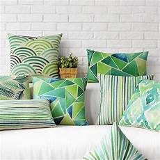 nordic geometry print throw pillow green plant leaves