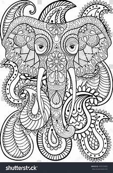 zentangle stylized ethnic indian elephant on stock vector
