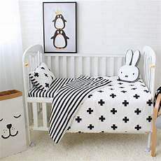 3pcs baby bedding set cotton crib sets black white stripe