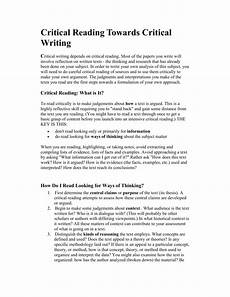 Critical Reading Essay Examples Critical Reading Towards Critical Writing