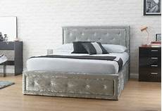 crushed velvet diamante buttons ottoman storage bed 4ft6