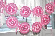 Birthday Girl Banner 1st Birthday Banner Polkadots Pink And White