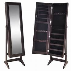 brown free standing jewelry cabinet with mirror vidaxl