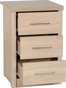 3 drawer bedside cabinet available in either light oak
