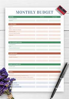 Home Budget Planner Download Printable Monthly Household Budget Pdf