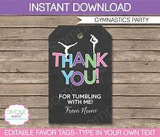 Party Favor Tag Gymnastics Party Favor Tags Thank You Tags Birthday Party