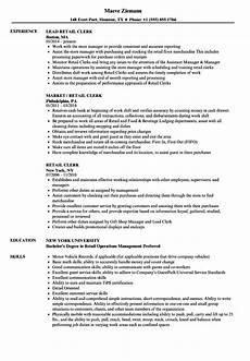 Retail Clerk Resume Retail Clerk Resume Samples Velvet Jobs