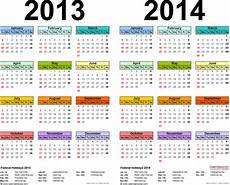 Year Calender 2013 2014 Two Year Calendar Free Printable Microsoft