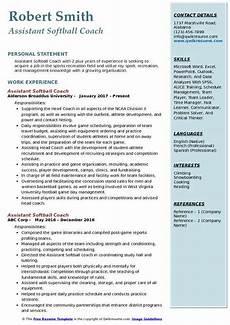 Softball Coach Resume Assistant Softball Coach Resume Samples Qwikresume
