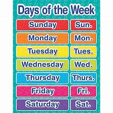 Printable Days Of The Week Chart Color My World Days Of The Week Chart Eureka School