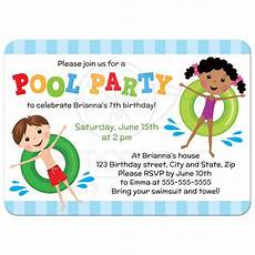 Kids Birthday Invitation Text Pool Birthday Party Invitation For Kids Boy And Girl On