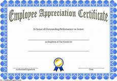 Appreciation Certificates For Employees Employee Appreciation Certificate Template 7 Great
