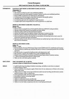 Medical Records Resume Sample Medical Records Clerk Resume Samples Velvet Jobs
