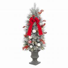Home Depot Trees With Lights Home Accents Holiday 4 Ft Pre Lit Flocked Porch Tree With