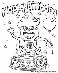 big cake with candles happy birthday minion coloring