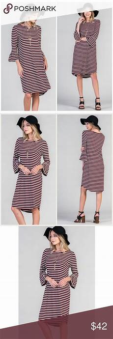 style trend boutique knee sleeve maroon striped bell sleeve dress knee length this gorgeous