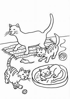 Malvorlagen Katzen Kostenlose Malvorlage Katzen Katzenfamilie Ausmalen Zum