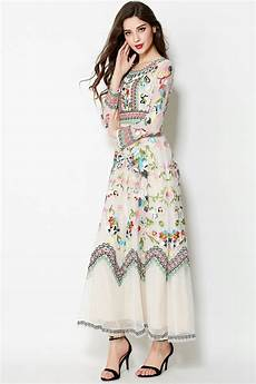 embroidery flowers sleeve ankle length dress
