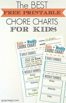 Daily And Weekly Chore Chart 10 Free Printable Chore Charts For Kids
