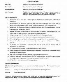 Advertising Executive Job Description Free 9 Marketing Executive Job Description Samples In Ms