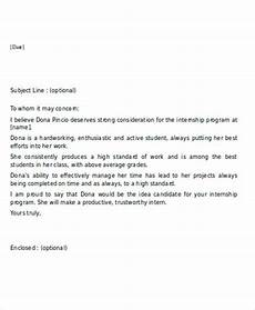 Internship Recommendation Letter Sample 11 Sample Internship Reference Letters Free Samples