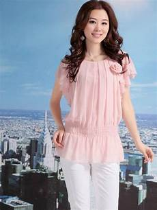 Womens Light Pink Blouse Newest Round Neck Butterfly Shaped Short Sleeve Light Pink