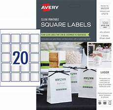 Avery Products Clear Square Labels 982509 Avery Australia