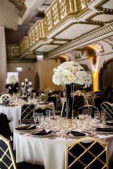 black and white reception with gold details photo