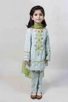 Baby Farooq Design Sky Blue Kurti With Cigarette Pants And Green Dupatta